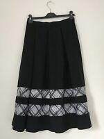 Topshop Women Skirt Size 10 Midi Semi Sheer Bottom Pleat Black