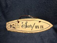 New Surf On In Slate Surfboard Sign-beach-lake-tropical- nautical-home decor