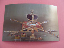 Queen Elizabeth II Silver Jubilee 1977 Stamp Foil Postcard Crown Jewels