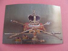 Queen Elizabeth II Silver Jubilee 1977 Stamp Foil Postcard Crown Jewels