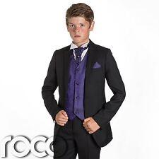 Boys Black Suit, Page Boy Suits, Prom Suits, Boys Wedding Suit, Purple Waistcoat