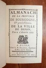 1775 Dijon Bourgogne Almanach Bibliophilie Reliure Mémoires St Michel Superbe