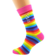 Trust me I'm Gay Female Sign Rainbow SOCKS GIRLS Christmas Birthday Present GIFT