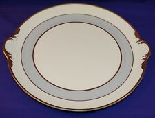 VINTAGE POPE GOSSER CHINA GREY DAWN 2 HANDLE CAKE / SERVING PLATE COIN GOLD TRIM