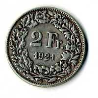 Moneda Suiza 1921 B 2 francos suizos plata .835 silver coin Helvetia