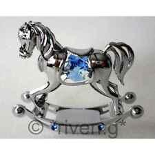 ROCKING HORSE@BLUE@CHRISTENING GIFT@SWAROVSKI ELEMENTS@LITTLE BOY@SILVER PLATED