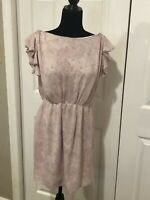 NWT Ann Taylor Loft Women's Size 4 Dress Ivory Purple Ruffle Sleeve Polka Dot