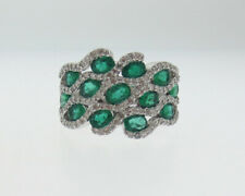 Natural 3.00cttw Green Emeralds Diamonds Solid 14k White Gold Ring Wide Band