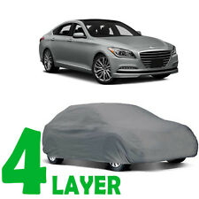 TRUE 4 LAYERS GRAY FITTED CAR COVER OUTDOOR WATER PROOF for HYUNDAI GENESIS