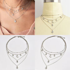 Chain Choker Necklace Women Jewelry Boho Multi-layer Star Moon Pendant Silver