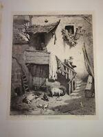 Léon SUBERCAZE (XIX) Gravure FERME ANIMAUX ENTOURAGE Charles JACQUE BARBIZON