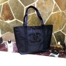 "CHANEL Beauty BLACK Sequin Logo VIP Shopper Bag Eco Tote Bag ""POST FREE W/Track"