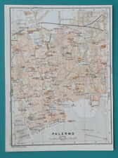 "1934 MAP 6 x 8"" (15 x 20 cm) - PALERMO City Plan & Environs Sicily Italy"