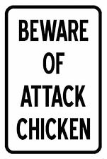 "Beware of Attack chicken Warning Sign 12"" x 8"" Aluminum Metal Novelty Sign"
