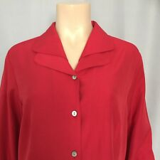 Dressbarn Sz M Red Collared Long Sleeve Cuffed Button Down Shirt