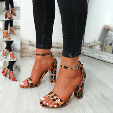 WOMENS LADIES ANKLE STRAP HIGH BLOCK HEEL SANDALS PEEP TOE PARTY SHOES SIZE
