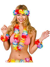HAWAIIAN HULA FLOWER NECK GARLAND 4PC LEI SET LUAU ALOHA BEACH PARTY FANCY DRESS