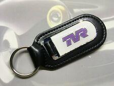 Black Leather Key Fob With Printed TVR Logo Keyring Cerbera Sagaris Chimaera