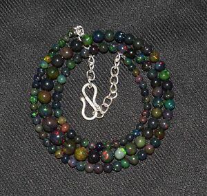 40Crt 16''Natural Ethiopian Opal Black Fire opal Balls Gemstone Necklace S3493