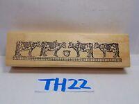 SCRAPBOOK WOOD MOUNTED RUBBER STAMP HAMPTON ART 4 MILK COWS RARE FARM ANIMAL