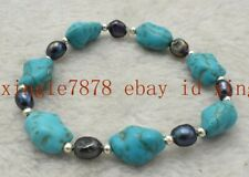 7-8mm Black Pearl Bracelet 7.5'' Aaa Fashion 10x14mm Natural Blue Turquoise &