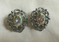 VINTAGE Sparkling Rainbow Aurora Borealis Silver Tone Filigree Clip On Earrings
