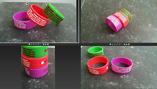 Custom Silicone Wristband BRACELET vital ID Color & Text  child safeID kids kid