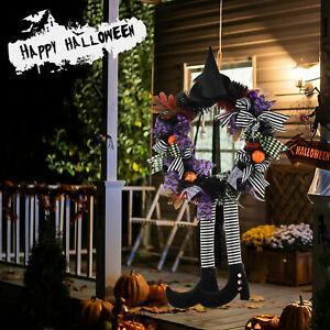 Halloween Wreath With Hat Legs Door Hanging Wreath Pumpkin Wreath Door Decor