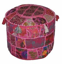 Cotton Vintage Ottoman Pouf Cover New Indian Handmade Patchwork Round Foot Stool