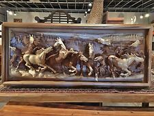 Handcarved One Solid Piece Acacia Wood 8 Running Horses Wall Sculpture 3D Art