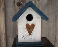 FREE SHIPPING Birdhouse White Blue Metal Heart Songbirds Primitive