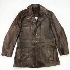 18828939745 VTG PETER CARUSO Leather Jacket Coat Sz 50 Long Blazer Hipster Rockabilly  70's