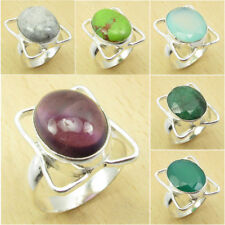 Many Gemstones, Size ! 925 Silver Plated PURPLE AMETHYST & Other Gemstones Ring