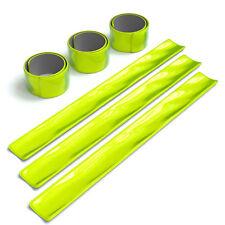 6x Reflektorband Schnapparmband Leuchtarmband Sicherheitsband Arm Bein Neon Gelb