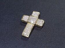 14k Yellow Gold 2.00ct Princess Cut Invisible Set White Diamond Cross Pendant