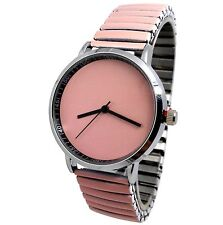 MONTRE FEMME STRASS EXTENSIBLE UNI ROSE PASTEL SAUMON MODE ERNEST BCBG GIRLY