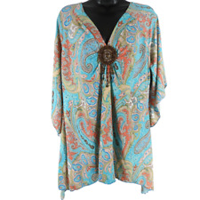 Multi-Color Paisley Beaded 3/4 Bell Sleeve V-Neck Blouse Women's Size 3XL