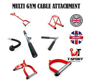 MULTI GYM CABLE MACHINE ATTACHMENT SINGLE/DOUBLE STIRRUP/SEATED ROW HANDLE GRIP