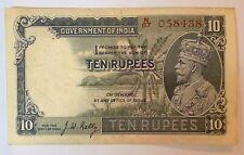 BRITISH INDIA 10 RUPEES P2 B 1928-1935 KING GEORGE V ELEPHANT RARE BANK NOTE