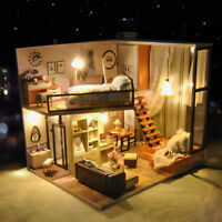 DIY Miniature Doll House Furniture Kit Dollhouse Toys Dream Room Gift with Light