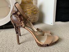 MICHAEL KORS HIGH HEEL ANKLE STRAP OPEN TOE SHOES SNAKE PRINT SIZE UK 9 NEW