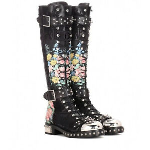Womens Floral Leather Lace Up Knee High Boots Side Zip Buckle Punk Combat Shoes