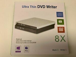 Thin Portable USB 3.0 Ultra External DVD-RW CD-RW Burner Writer Drive PC MAC dja