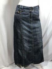 Contrast Long Jean Skirt 15 women full length Long Slit Zipper Detail Med Wash