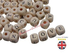 25 Pcs 10mm Natural Colour Alphabet Mixed Letter Cube Wooden Beads Beading G158