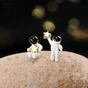 Lovely Asymmetric Star Space Astronauts Ear Earrings Stud Women Jewelry Gifts