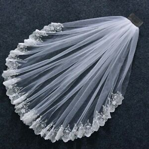 Pearl Lace Trim Elbow Short Bridal Veil White Ivory Tulle Wedding Veil with Comb