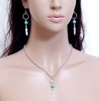 #E121K Feather Wing Turquoise Bead Hoop Earrings Necklace Set PIERCED or CLIP ON