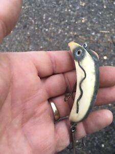 Vintage Fishing Lure, South Bend ? -oreno White, Colored Spots, Dark Green