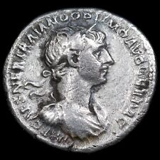 Roman Empire. Trajan, 98-117 A.D. Silver Denarius. Fortuna Reverse.